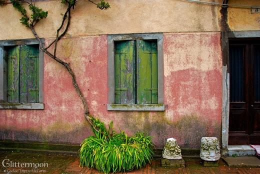 Pink House Green Shutters